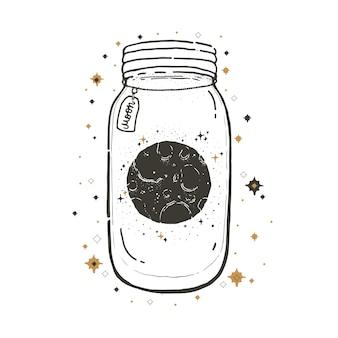 Dibuje una ilustración gráfica con símbolos místicos y ocultos. tarro de albañil con luna.