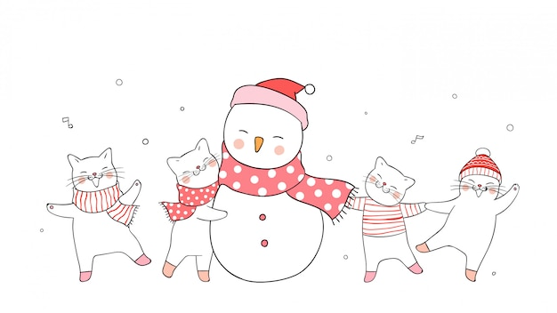 Dibuje lindo gato y muñeco de nieve en blanco concepto de invierno.