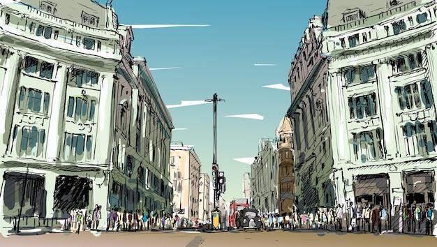 Dibuje el paisaje urbano de londres, inglaterra, muestre a los pueblos a pie de la calle y el centro comercial, ilustración