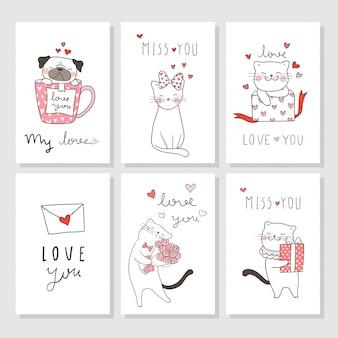 Dibuje una tarjeta de felicitación para el día de san valentín con el perro gato y pug.