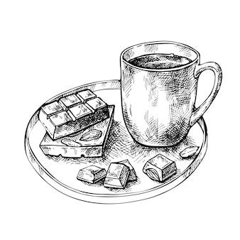 Dibuje una taza de té, café, chocolate caliente, nueces y barra de chocolate en un plato. taza dibujada a mano con trozo de chocolate.