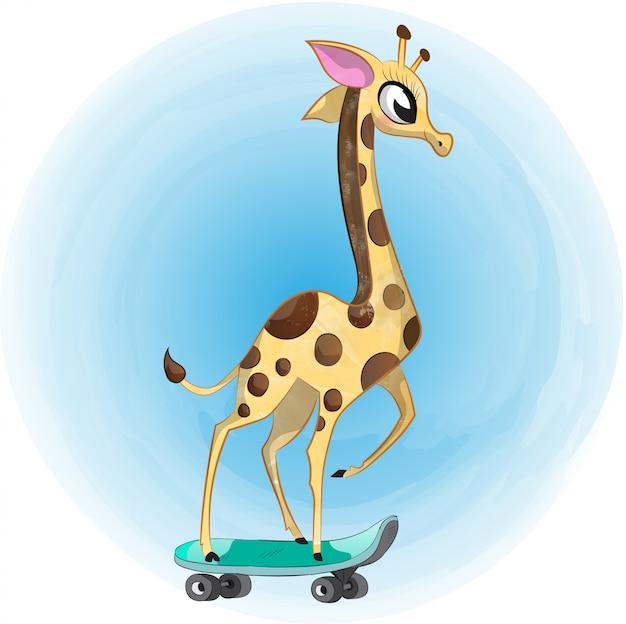 Dibujo de acuarela lindo bebé jirafa