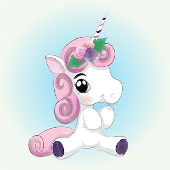 Dibujo de acuarela lindo bebé unicornio