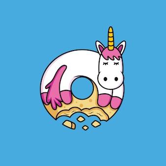 A un dibujo animado de unicornio le gustan los donuts