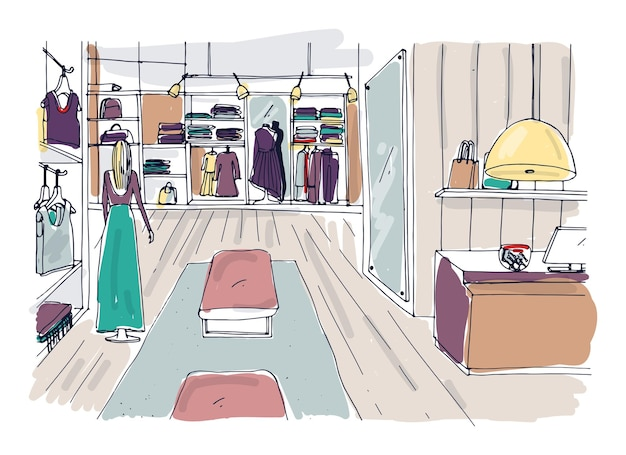 Dibujo aproximado del interior de la sala de exposición de ropa con perchas, estanterías, muebles, maniquí vestido con ropa de moda. boutique de moda dibujada a mano o tienda de ropa. ilustración de vector de color.