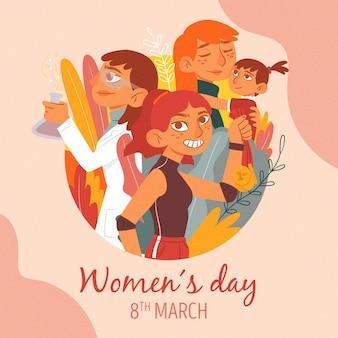 Dibujo artístico con tema del día de la mujer