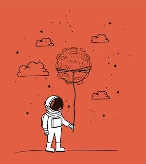 Dibujo de astronauta con asteroide.