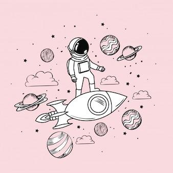 Dibujo de astronauta con cohete y planetas.