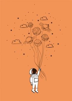 Dibujo de astronauta con planetas.
