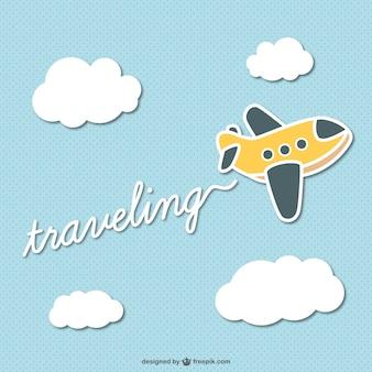 Dibujo de avión con rótulo de viajes