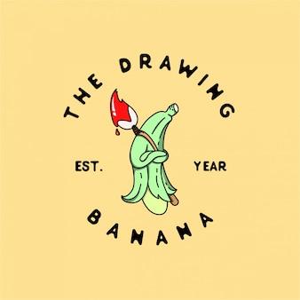 El dibujo banana monoline logo