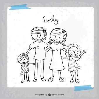 Dibujo en blanco y negro de familia