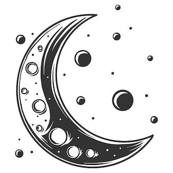 Dibujo en blanco y negro de la luna y las estrellas, aislado sobre fondo blanco.