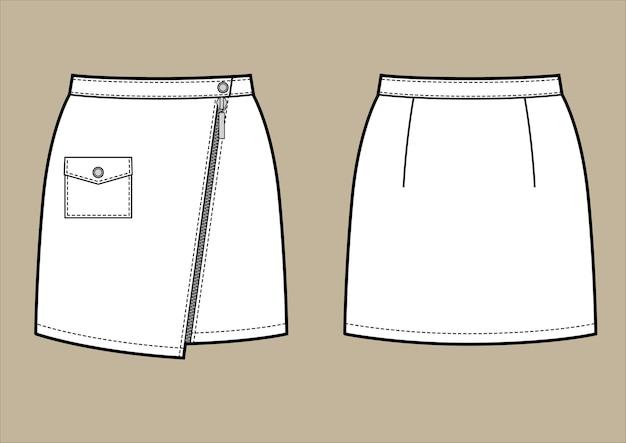 Dibujo en blanco y negro de vector de minifalda de cuero. ropa estilo motero. vistas frontal y posterior