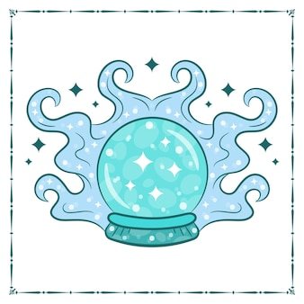 Dibujo de bola de cristal de brujería de halloween