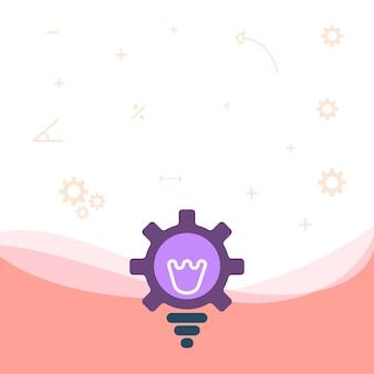 Dibujo de bombilla iluminada con carcasa de engranaje que muestra ideas de tecnología lámpara incandescente con cog