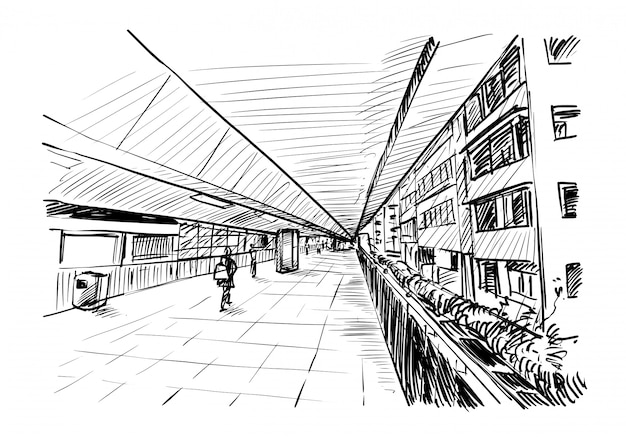 Dibujo del camino a pie en hong kong dibujar a mano