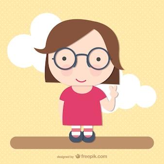 Dibujo de chica con gafas