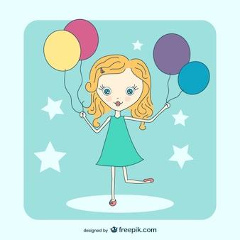 Dibujo de chica con globos