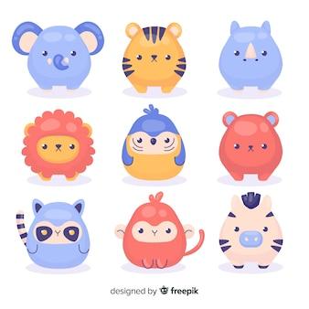 Dibujo con colección de animales de dibujos animados