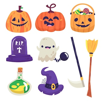 Dibujo de colección de elementos de halloween