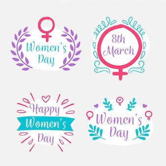Dibujo con la colección de insignias del día de la mujer