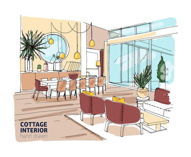 Dibujo de color tosco del interior de la casa o cabaña de verano con muebles cómodos y decoraciones para el hogar.