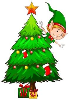 Un dibujo coloreado de un árbol de navidad