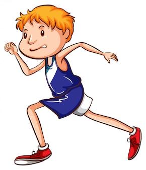 Un dibujo coloreado de un joven corredor