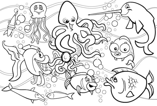 Dibujo Para Colorear Grupo De Animales Marinos Vector Premium