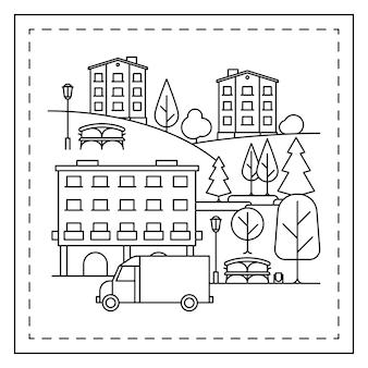 Dibujo para colorear con paisaje de la ciudad.