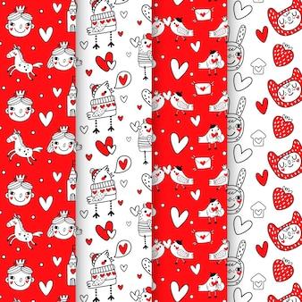 Dibujo colorido con colección de patrones del día de san valentín