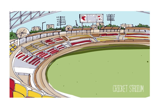 Dibujo colorido del estadio de cricket con filas de asientos, marcador electrónico y campo de hierba verde.