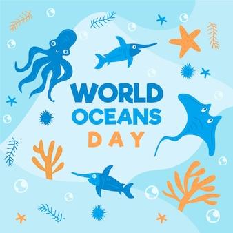 Dibujo del concepto de ilustración del día mundial de los océanos