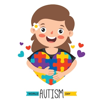 Dibujo conceptual de la conciencia del autismo