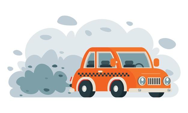 Dibujo conceptual de la contaminación del aire