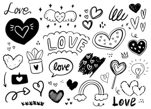 Dibujo de contorno de etiqueta engomada del doodle de forma de corazón de amor. elemento romántico en el dibujo de contorno de la etiqueta engomada del doodle de la forma del corazón del amor. elemento romántico en la ilustración de fondo blanco