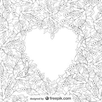 Dibujo de corazón con adornos florales