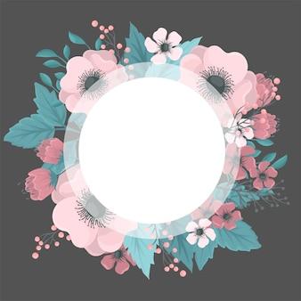 Dibujo de coronas de flores - marco redondo rosa con flores