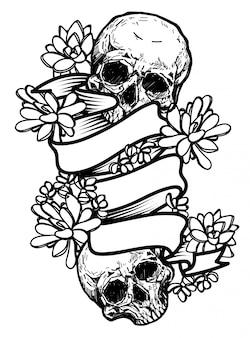 Dibujo de cráneo y flores a mano con ilustración de arte de línea aislado