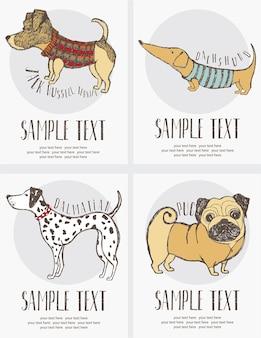 Dibujo de boceto del conjunto de tarjetas de perros