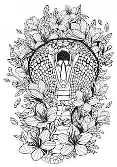 Dibujo y dibujo en blanco y negro de la mano de la serpiente del arte del tatuaje con la ilustración del arte de línea