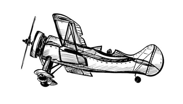 Dibujo del dibujo de la mano del avión clásico