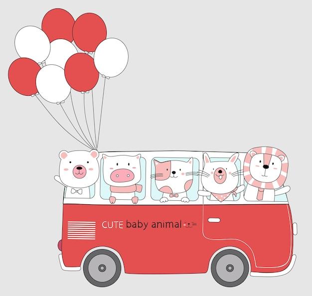 Dibujo de dibujos animados de los animales lindos en el autobús rojo con globo estilo dibujado a mano