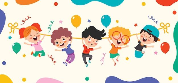 Dibujo de dibujos animados de personaje feliz balanceándose