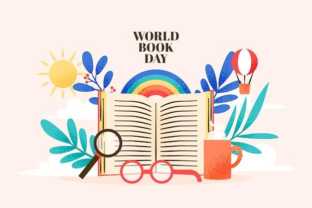 Dibujo con diseño del día mundial del libro