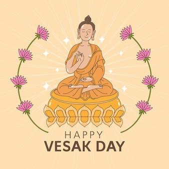 Dibujo con diseño feliz del día de vesak