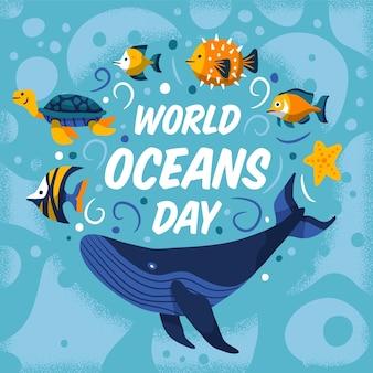 Dibujo del diseño de ilustración del día mundial de los océanos