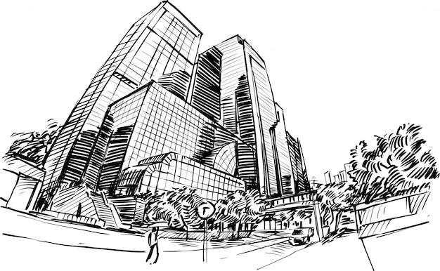 Dibujo del edificio en hong kong dibujar a mano