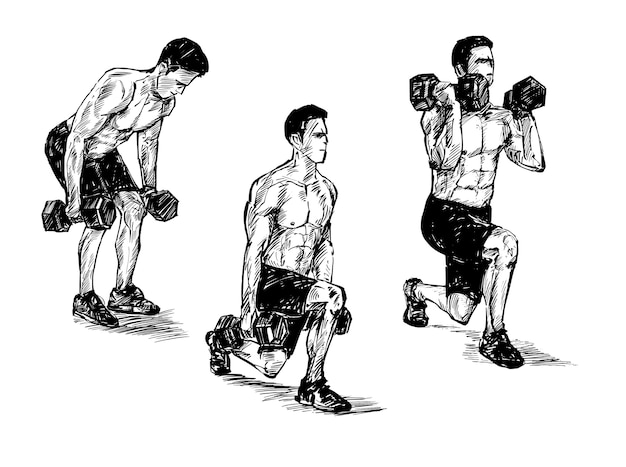 Dibujo del ejercicio de hombre con mancuerna mano dibujar estilo mostrar tinta